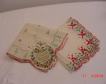 2 Vintage Christmas Handkerchiefs  Santa & Ornaments 16 - 266