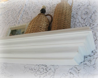 White Crown Molding Shelf, Large Hand Built Crown Molding Shelf, Cottage Farmhouse Shelf
