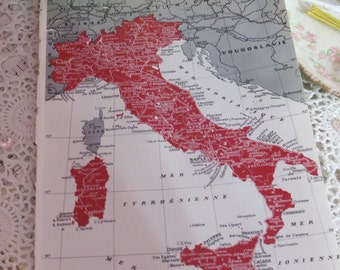 Original Color Atlas Map-Book Plate-Bookplate-French-Italy