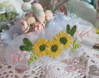 Handmade silk Ribbon Embroidery Sunflowers