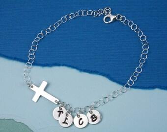 Sterling silver Cross initial bracelet,Personalized,Family bracelet,Blessing,personalized mothers bracelet, charm bracelet,Friendship