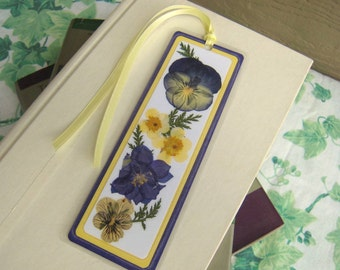 Pressed Flower Bookmark Laminated Dark Purple and Yellow With Fern Leaves Floral Collage Laminated