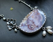 Homecoming Necklace - Luna Agate, Pearls, Recycled Sterling & Fine Silver - Hydrangea, Flowers, Rustic, Feminine, OOAK, Ready to Ship