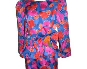 30% Off Sale Vintage Raul Blanco  Bergdorf Goodman 2pc Vibrant Multicolor Floral Print Avant Garde Silk Jacket Top Skirt Set Puff Sleeve Siz