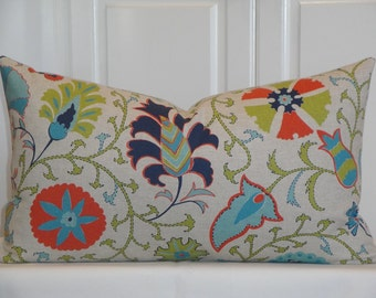 Decorative Pillow Cover - 14 x 24 - Floral Suzani - Orange - Teal - Citrine - Navy Blue
