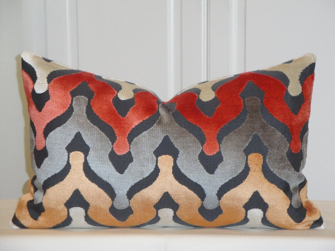 Velvet Decorative Pillow Covers : CUT VELVET Decorative Pillow Cover Zig Zag Velvet