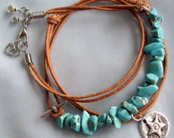 Tutorial Bracelet Leather and Howlite