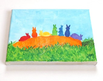 Catch a Rainbow - Bunnies on a Carrot, whimsical rainbow art