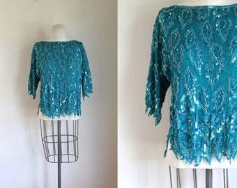 vintage silk beaded top - MERMAID TEARS aqua sequin blouse / M (NWT)
