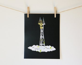 Sutro Tower // San Francisco Map Art // 11x14 Poster Print