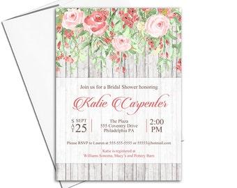 Boho Bridal Shower Invitations Fall | Autumn Wedding Shower Invitation Printable or printed | fall bridal shower invite rustic - WLP00556