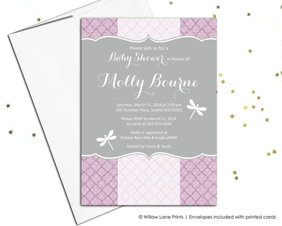 Dragonfly baby shower invitation for girls purple baby shower il570xn filmwisefo
