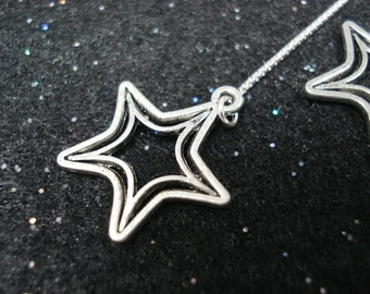 Silver Stars on Sterling Ear Threads- Threader Earrings/Necklace-FREE SHIPPING To U.S.