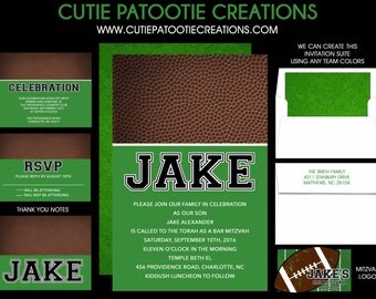 Football Bar Mitzvah Invitation - Green Brown - Choose Team Colors - RSVP - Thank You Note - Information Card - Envelope Addressing