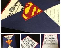 Save The Date --- Superman Wedding Invitation --- Superman Save The Date