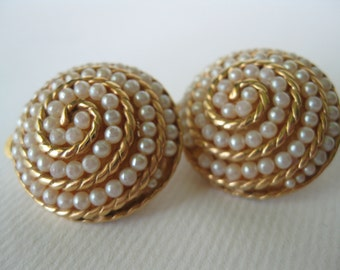 Vintage Seed Pearls Spiral Clip Earrings