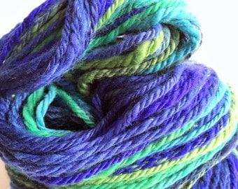 "Handspun Yarn -- ""Tradewinds"" -- merino / nylon / sparkle -- 138 yards bulky weight"