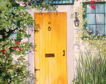 Bungalow 26, Landscape painting, Giclee print, Fine art print, Cottage, Painting of door