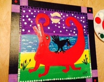 RED GATOR and CROW on beach folk art by Nita marked 1/2 off sale