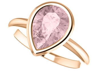 Peach Morganite Rose Gold Engagement Solitaire Pear Shape