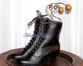 Victorian Boots in Black Leather  short Victorian Boots Lace up Granny style Ankle Victorian boots