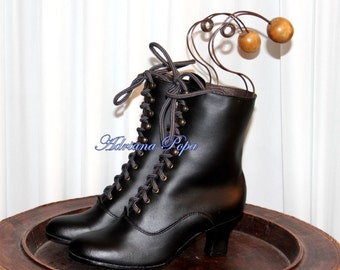 Granny Boots Victorian Booties Victorian Shoes Black Leather  Edwardian Boots  Comfort booties Lace up Granny shoes Ankle boots