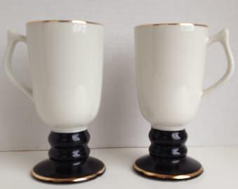 Aunt Sarah's Pancake House Coffee Mugs Set of 2 Hall 1273 Richmond VA Pedestal Cups Made in USA