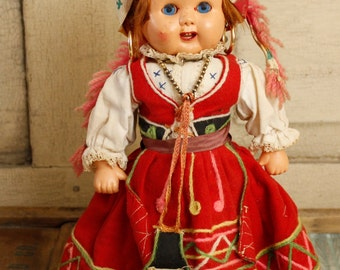 Vintage Gypsy Doll, Collectible Colorful Clothing, Ethnic Costumed Doll, Beautiful European Outfit with Original Jewelry, Antique Doll