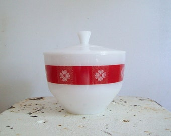 Vintage Federal Glass milk glass covered bowl red flower design red gingham excellent condition