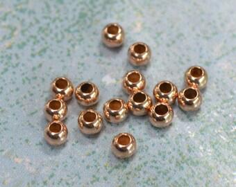 20pcs 2mm Rose 14Kt Gold-filled Metal Bead Round Spacer