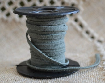 5 Meters of 3mm x 0.5mm Genuine Grey Flat Suede Leather Lace