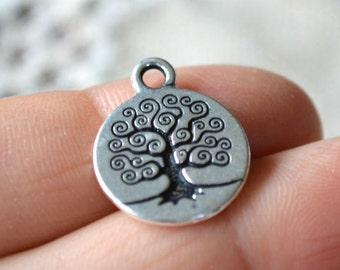 2 Charm Antiqued Silver Pewter 15.5mm Tree of Life Charms Woodland Bodhi Tree Drops TierraCast