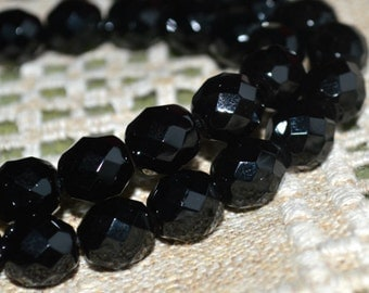 35pcs Fire-Polished Black Jet 12mm Bead Czech Glass Faceted Round