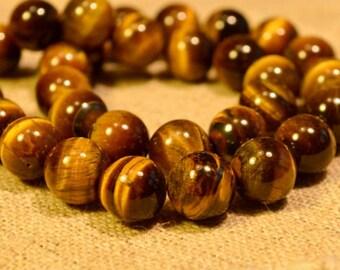 40pcs 10mm Tigereye Natural Gemstone Beads Round 16 Inches Strand