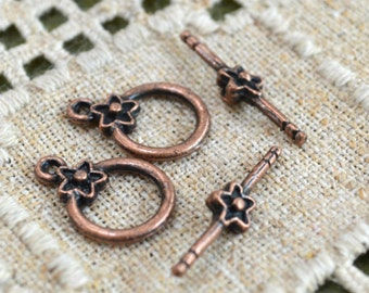 10pcs Clasp Toggle 14mm Singe Sided Design Antiqued Copper Plated Pewter