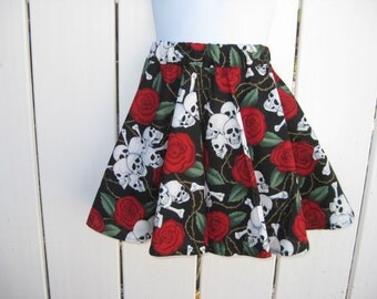 SALE - Size 6 Red Roses and Skulls Twirl Skirt