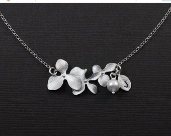 ON SALE Silver orchid Necklace,Personalised Jewelry,Initial Leaf,Orchid Flower Silver Necklace,Bridesmaids Necklace, Flower and Pearl jewelr