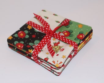Coaster Fabric Set of 4 Square Quilt Style and One Piece Back
