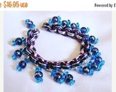 WOW Blue, purple, and silver Bead Bracelet or Anklet- Chain maille