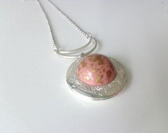 Pink gold silver locket