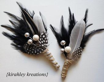 Black Silver Groom Wedding Boutonniere Ivory Rustic Gray Duck Feather Guinea Berry Foliage Jute Burlap Twine ELVIS Groomsmen Prom Lapel Pin