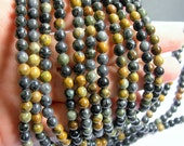 Black Picasso Jasper - 6mm - round beads - 68 beads - full  strand - RFG576