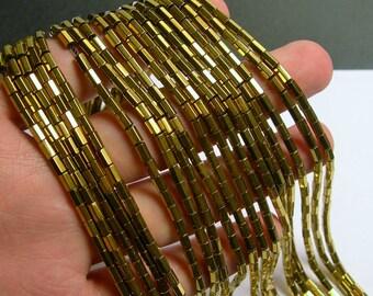 Hematite Gold - 5mm tube hexagon beads -  full strand - 82 beads - AA quality - gold -  PHG241