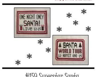 PDF E pattern emailed Christman Santa Cross Stitch Pattern Sampler 159