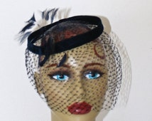 SALE Vintage 1950s Fascinator Hat . 50s NAVY BLUE Halo Hat & Birdcage Netting Veil . Formal Evening Party Prom Hat . Fabulous Condition