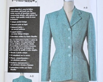 VOGUE Fitted 40s Style Dress Jacket . Designer Claire Shaeffer Couture Blazer . Sewing Supply UNCUT Pattern 7908 . Size 12 14 16