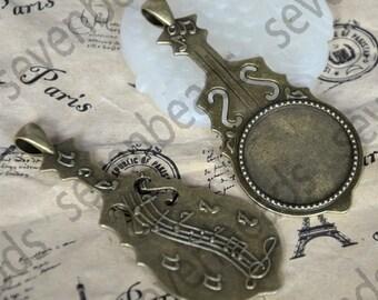 6 pcs Antique Brass Music Note round Cabochon Pendant Base (Fit Cabochon 25mm),Pendant findings,Pendant Blank Pendant Trays