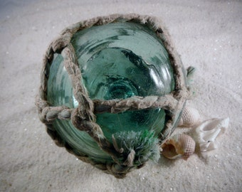 "Japanese Glass Fishing Float - 4"" diameter, Original Net"