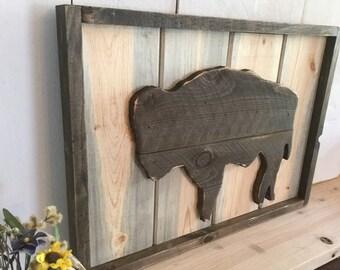 Rustic Buffalo Home Decor - Bison Sign - Rustic Wyoming Home Decor - Hand Cut Buffalo - Native American Wall Hanging - Buffalo Sign