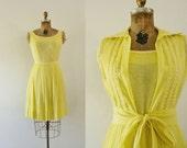 1960s You're My Sunshine yellow sheer day dress / 60s Herman Marcus